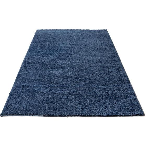 Home affaire Hochflor-Teppich Shaggy 30, rechteckig, 30 mm Höhe, gewebt, Wohnzimmer 5, 200x200 cm, blau Schlafzimmerteppiche Teppiche nach Räumen