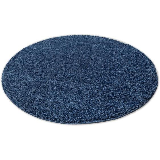 Home affaire Hochflor-Teppich Shaggy 30, rund, 30 mm Höhe, gewebt, Wohnzimmer 9 (Ø 140 cm), blau Schlafzimmerteppiche Teppiche nach Räumen