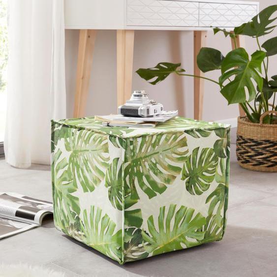 Home affaire Hocker Cocoon Jungle Struktur grün Sitzkissen Sitzwürfel