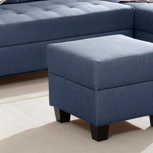 Home affaire Hocker Ethan 0, Struktur fein blau Polsterhocker Nachhaltige Möbel