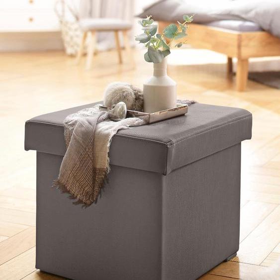 Home affaire Hocker, FSC®-zertifiziert, grau, Material Kunstleder, Pflegeleichtes Kunstleder