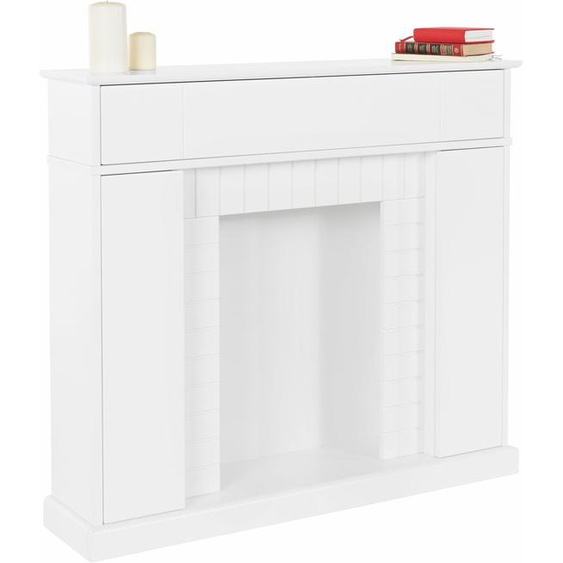 Home affaire  Kaminumbauschrank Breite 110 cm, FSC®-zertifiziert, weiß, Push to open-Funktion