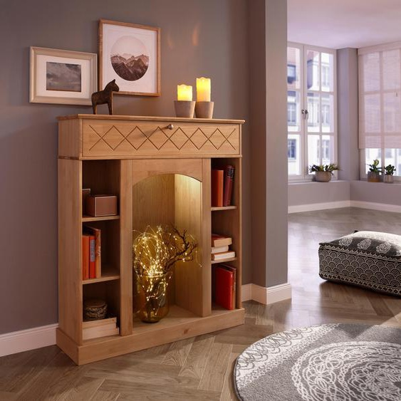 Home affaire  Kaminumbauschrank  inklusive LED Beleuchtung »Abau«, FSC®-zertifiziert, beige, Material Kiefer, mit LED-Beleuchtung