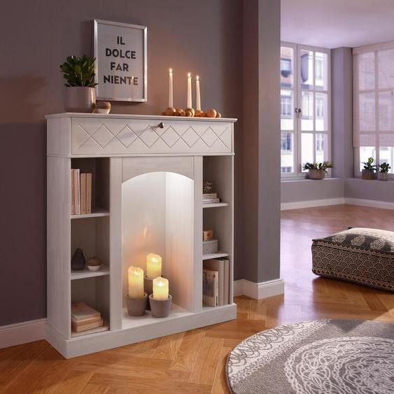 Home affaire  Kaminumbauschrank  inklusive LED Beleuchtung, FSC®-zertifiziert, weiß, Material Kiefer »Abau«, mit LED-Beleuchtung