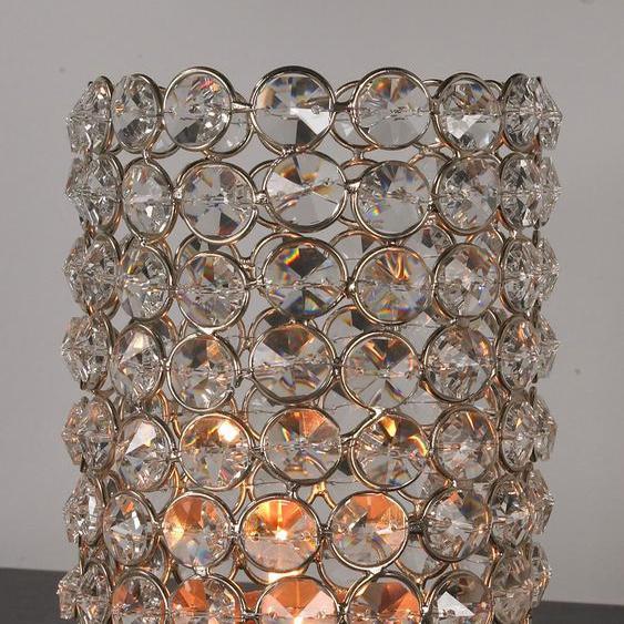 Home affaire Kerzenständer Kristall 10x10x15 cm silberfarben Kerzenhalter Kerzen Laternen Wohnaccessoires