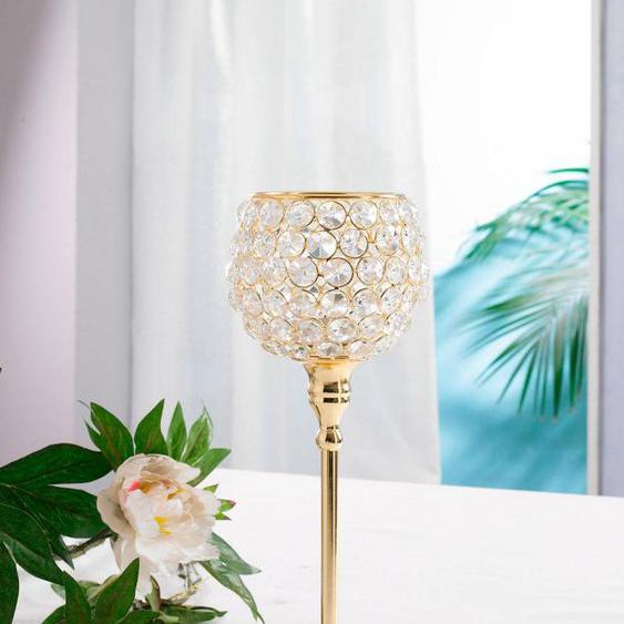 Home affaire Kerzenständer Kristall H: 32 cm goldfarben Kerzenhalter Kerzen Laternen Wohnaccessoires