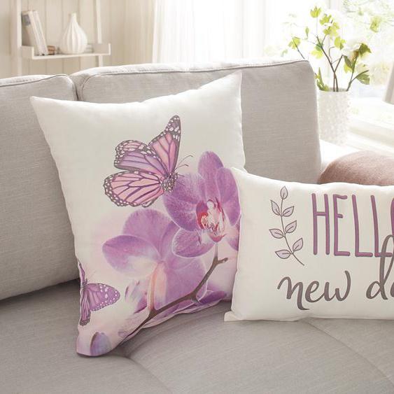 Home affaire Kissenhüllen Hilke, (2 St., 50x50 cm-30x50 cm), mit Blumenmotiv und Schriftzug 2x cm, Baumwolle weiß Kissenbezüge gemustert Kissen