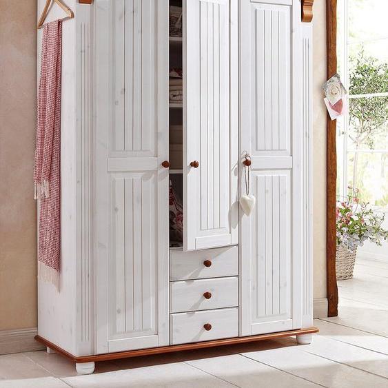 Home affaire Kleiderschrank Adele, aus massiver Kiefer 126 x 191 53,5 (B H T) cm, 3-türig weiß Drehtürenschränke Kleiderschränke Schränke