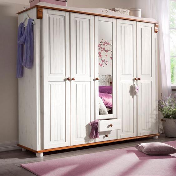 Home affaire Kleiderschrank Adele, aus massiver Kiefer 198 x 191 53,5 (B H T) cm, 5-türig weiß Drehtürenschränke Kleiderschränke Schränke