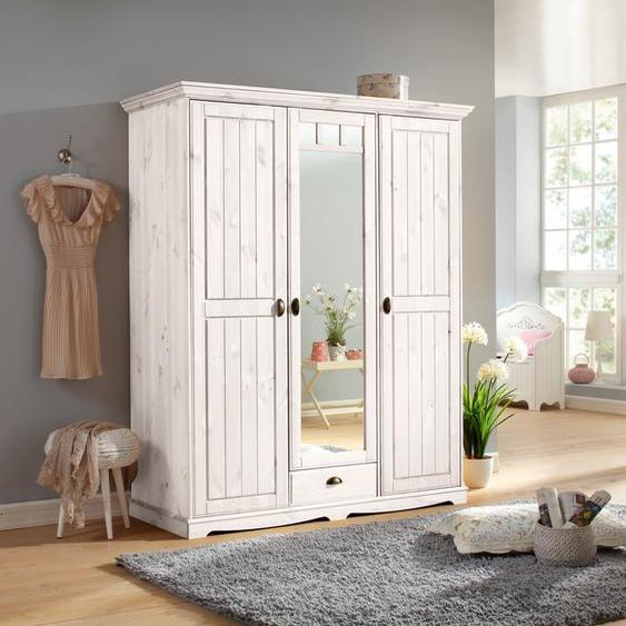 Home affaire Kleiderschrank Claudia, aus massiver Kiefer 155 x 194,5 64,5 (B H T) cm, 3-türig weiß Drehtürenschränke Kleiderschränke Schränke