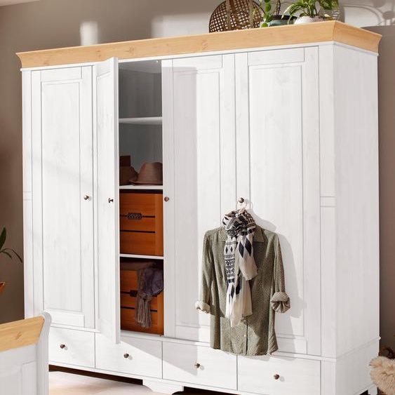 Home affaire Kleiderschrank Lotta, wahlweise in 4-, oder 5-geteilt, 2 Farben B: 203 cm weiß Drehtürenschränke Kleiderschränke