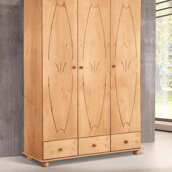 Home affaire Kleiderschrank Melody, aus massiver Kiefer B/H/T: 126 cm x 189 50 cm, 3 beige Drehtürenschränke Kleiderschränke