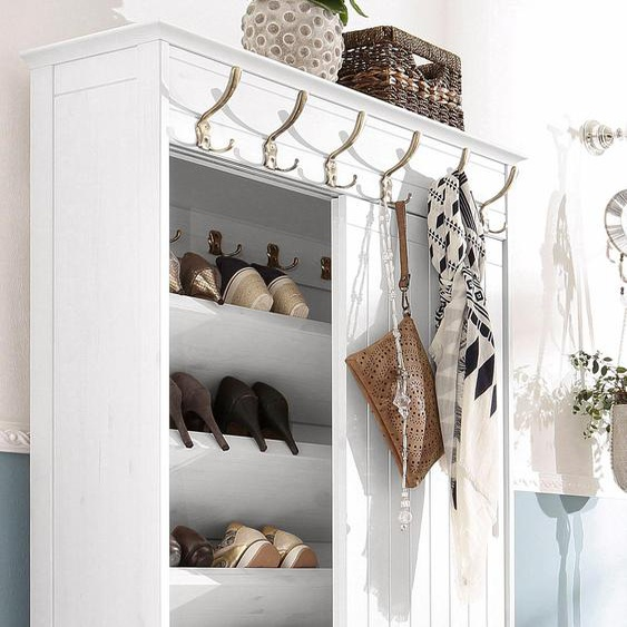 Kompakt-Garderobe  aus massiver Kiefer »Mia«, 88.5x176x50 cm (BxHxT), FSC®-zertifiziert, Home affaire, weiß, Material Kiefer