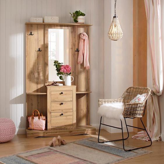 Kompakt-Garderobe  mit Spiegel und vielen Ablageflächen »Norma«, FSC®-zertifiziert, Home affaire, weiß, Material Holzwerkstoff
