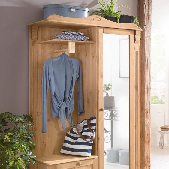 Kompaktgarderobe »Adele«, 108x185x40 cm (BxHxT), Landhaus-Stil, FSC®-zertifiziert, Home affaire, beige, Material Kiefer