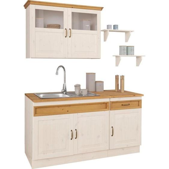 Home affaire Küchen-Set »Fanö«, (5-St), ohne E-Geräte, Breite 150 cm, aus massiver Kiefer, xx mm starke Arbeitsplatte, mit Metallgriffen