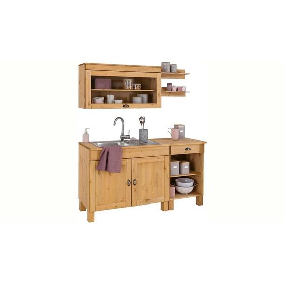 Home affaire Küchen-Set »Oslo«, (5-tlg), ohne E-Geräte, Breite 150 cm, aus massiver Kiefer, 23 mm starke Arbeitsplatte, mit Metallgriffen, Landhaus-Küche