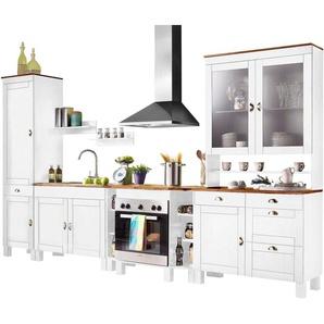 Home affaire Küchen-Set »Oslo«, (7-St), ohne E-Geräte, Breite 350 cm, aus massiver Kiefer, 23 mm starke Arbeitsplatte, mit Metallgriffen, Landhaus-Küche, in 2 Tiefen erhältlich