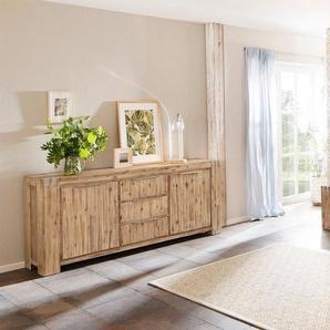 Home Affaire Rustikales Lowboard »Basano« aus massivem Akazienholz in 2 verschiedenen Größen