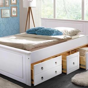 Home affaire Massivholzbett Hugo, ohne Schubladen Liegefläche B/L: 180 cm x 200 cm, kein Härtegrad weiß Doppelbetten Betten