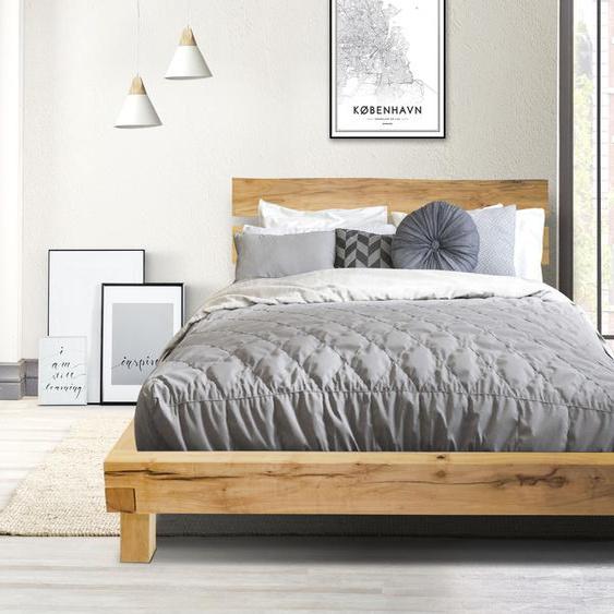 Home affaire Massivholzbett Julijan 180x200 cm Höhe Bettseite: 42 cm, ohne Matratze beige Massivholzbetten Betten