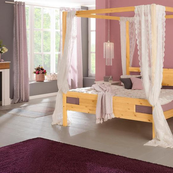 Home affaire Massivholzbett »Kyoto«, Landhaus-Stil, beige, Material Massivholz»Kyoto«