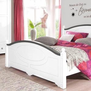 Home Affaire Bett » in 3, Breiten, mit Fräsungen im Kopf-und Fußteil, 2 Farben«, 140/200 cm, weiß, mit Rollrost