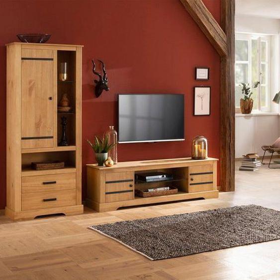 Home affaire Mehrzweckschrank »Loki« aus massivem Kiefernholz, mit zwei verstellbaren Holzeinlegeböden, Höhe 170 cm, braun