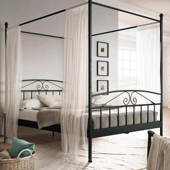 Home affaire Metallbett Birgit, mit einem schönen Betthimmel, aus Metallgestell Liegefläche B/L: 180 cm x 200 cm, Gewicht, ohne Matratze schwarz Doppelbetten Betten