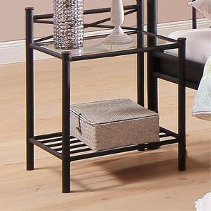 Home affaire Nachttisch »Thora«, aus einem schönem Metallgestell, mit einer Glasplatten Ablage, Höhe 58 cm