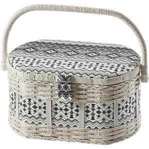 Home affaire Nähkästchen, oval, aus Kunststoff und Textil mit schwarz weißem Muster