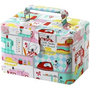 Home affaire Nähkorb, rechteckig, Textil Stoffmuster multicolor pink und mint mit Griff