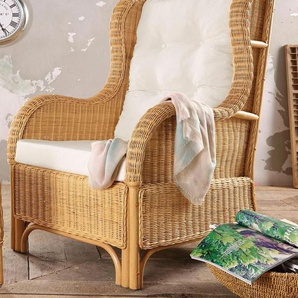 Home affaire Ohrensessel Frieda, aus handgeflochtenem Rattan B/H/T: 70 cm x 107 87 beige Sessel Hocker Möbel sofort lieferbar