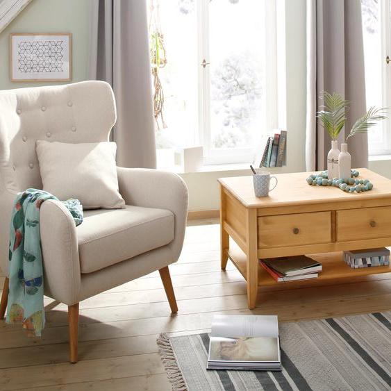 Home affaire Ohrensessel Yamuna, mit toller Sitzpolsterung, Gestell und Füße aus Massivholz, Sitzhöhe 57 cm Einheitsgröße beige Lesesessel Sessel
