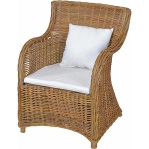 Home affaire Rattanstuhl aus handgeflochtenem Rattan und großer Sitzschale, beige, zeitloses Design, ,