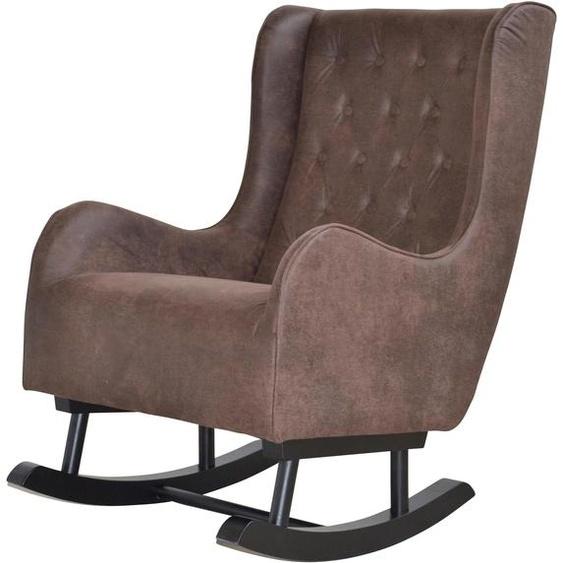 Schaukel-Stuhl, 62x100x95 cm (BxHxT), Landhaus-Stil, Home affaire, braun, Material Mikrofaser