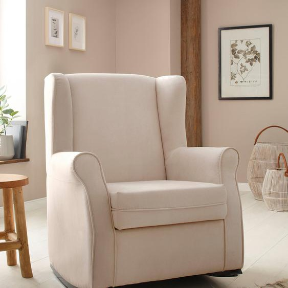 Schaukel-Stuhl »Warin«, 76x100x74 cm (BxHxT), Landhaus-Stil, Home affaire, mehrfarbig, Material Massivholz, Polyester