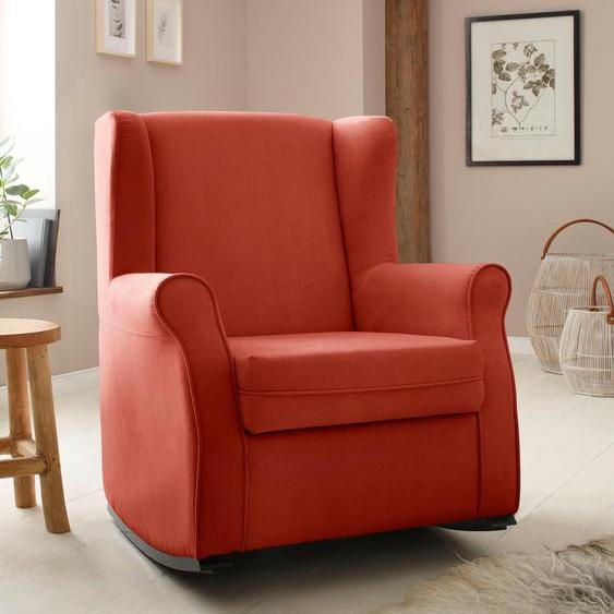 Schaukel-Stuhl »Warin«, 76x100x74 cm (BxHxT), Landhaus-Stil, Home affaire, orange, Material Massivholz, Polyester