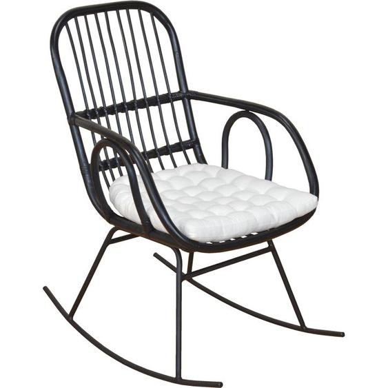 Schaukel-Stuhl, Home affaire, schwarz, Material Rattan
