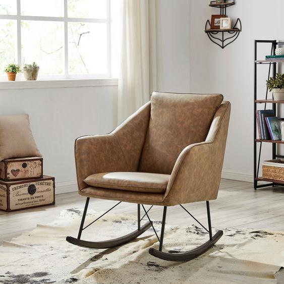 Home affaire Schaukelstuhl »Amelia«, aus schönem Kunstleder Bezug, in zwei unterschiedlichen Farbvarianten, Sitzhöhe 47 cm