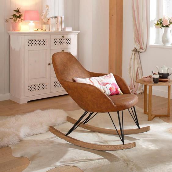 Home affaire Schaukelstuhl Tampa, Stahlbeine mit Holzkufen, moderne Optik, Korpus gepolstert Einheitsgröße braun Schaukelstühle Stühle Sitzbänke