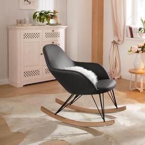 Home affaire Schaukelstuhl Tampa, Stahlbeine mit Holzkufen, moderne Optik, Korpus gepolstert Einheitsgröße grau Schaukelstühle Stühle Sitzbänke