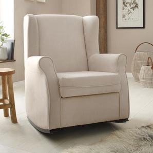 Home affaire Schaukelstuhl Warin, mit schönem Luxus-Microfaser Bezug und Holzbeinen, Sitzhöhe 48 cm B/H/T: 76 x 100 74 cm, beige Schaukelstühle Stühle Sitzbänke