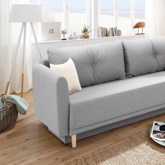 Schlafsofa »Scandic«, 225x93x86 cm (BxHxT), mit Bettfunktion, mit Federkern, FSC®-zertifiziert, Home affaire, grau, Material Holzwerkstoff