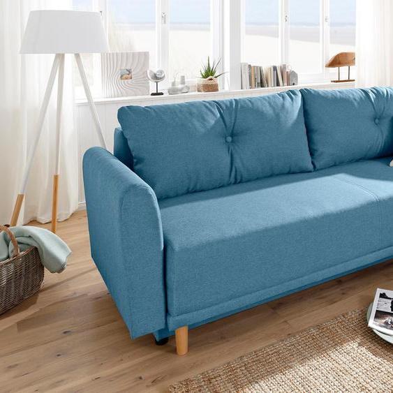 Schlafsofa »Scandic«, 225x93x86 cm (BxHxT), mit Bettfunktion, mit Federkern, FSC®-zertifiziert, Home affaire, blau, Material Holzwerkstoff