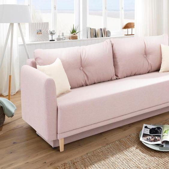 Schlafsofa »Scandic«, 225x93x86 cm (BxHxT), mit Bettfunktion, mit Federkern, FSC®-zertifiziert, Home affaire, rosa, Material Holzwerkstoff
