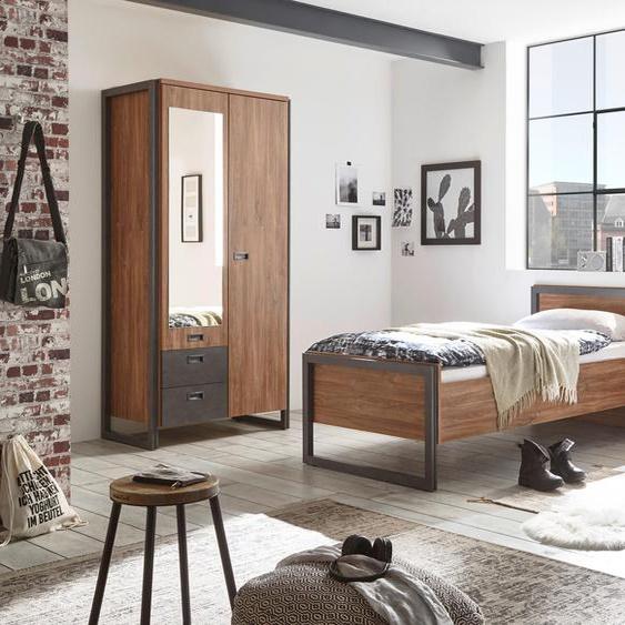 Home affaire Schlafzimmer-Set Detroit (Set, 3-tlg) Kleiderschrank 2trg, Bett 90cm, 1 Nako braun Komplett Schlafzimmer Betten Schlafzimmermöbel-Sets
