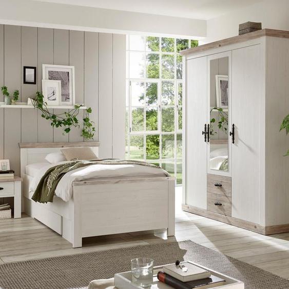 Home affaire Schlafzimmer-Set Florenz (ab Bettgröße 140cm. sind 2 Nachttische enthalten) 3-türiger Kleiderschrank weiß Komplett Schlafzimmer Betten Schlafzimmermöbel-Sets