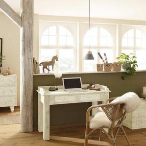 Home affaire Schreibtisch »Lavin«, aus massiven, pflegeleichten Mangoholz, mit dekorativen Schnitzereien, Handgefertigt, Breite 111 cm