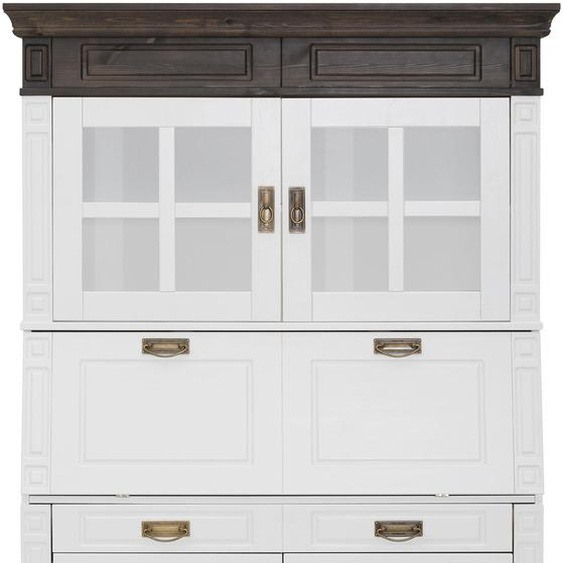 Sekretär »Vinales«, Landhaus-Stil, weiß, Material Kiefer, Massivholz, Metall